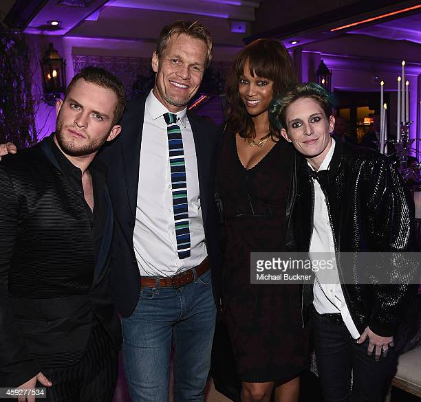 Designer August Getty photographer Erik Asla model Tyra Banks and model Natalia Getty attend the August Getty Atelier Dinner at the Montage Hotel...