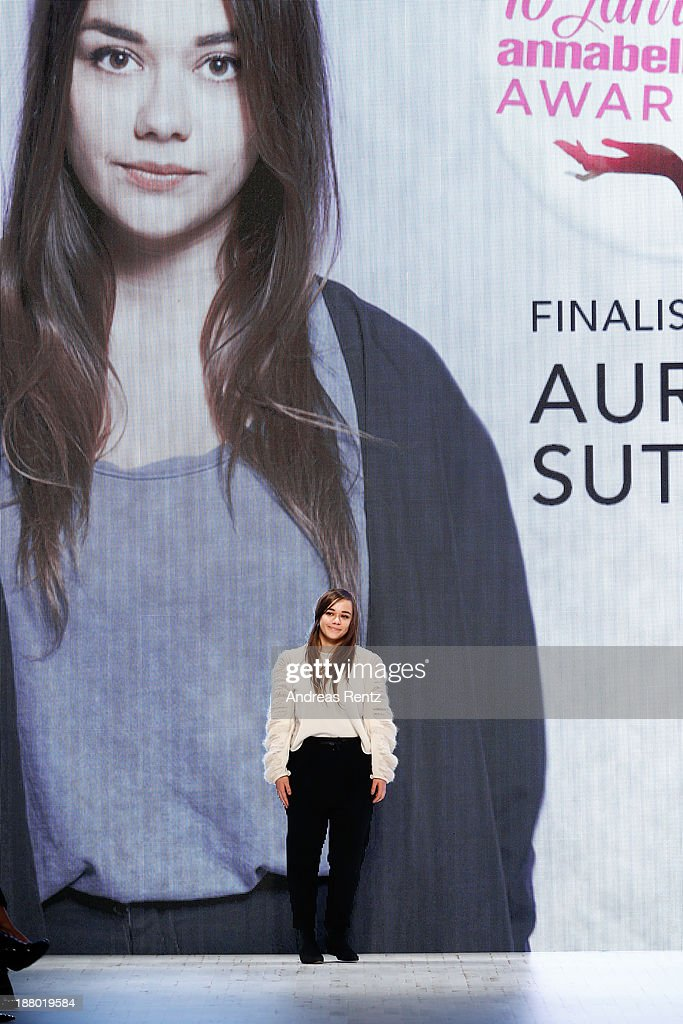 Designer Aurelie Sutter on the runway at the Annabelle Award finalists show during Mercedes-Benz Fashion Days Zurich 2013 on November 14, 2013 in Zurich, Switzerland.