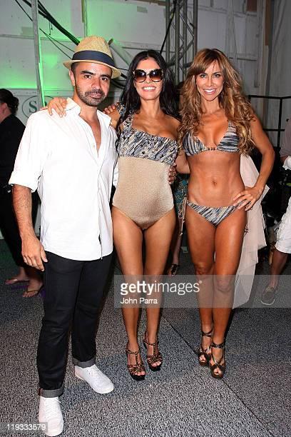 Designer AZ Araujo TV Personality Adriana de Moura and Aylin Mujica pose backstage at the AZ Araujo / AG Uaclara /Aquarella/ Have Faith Swimwear show...