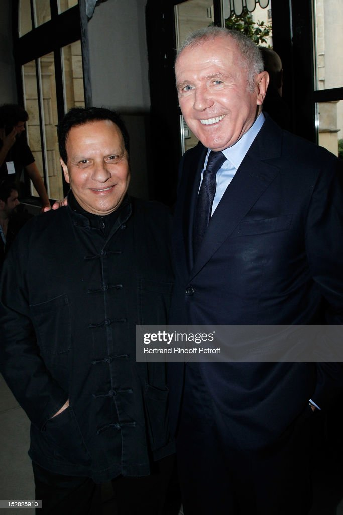 Designer Azzedine Alaia and Francois Pinault, PPR Honorary President, attend the Balenciaga Spring / Summer 2013 show as part of Paris Fashion Week on September 27, 2012 in Paris, France.