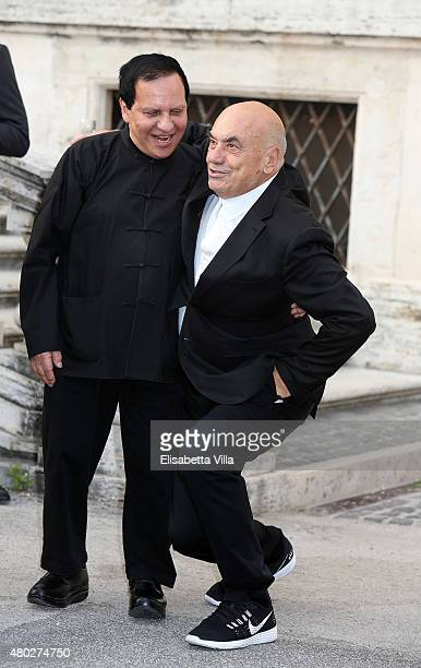 Designer Azzedine Alaia and Massimiliano Fuksas attend 'Couture / Sculpture' Vernissage Cocktail honoring Azzedine Alaia in the history of fashion as...