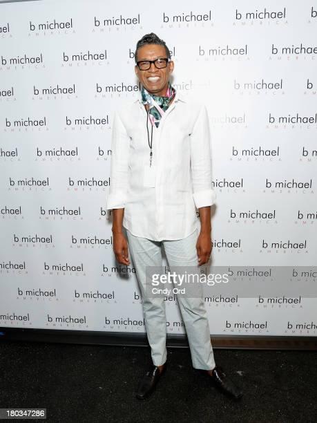 Designer B Michael prepares backstage at the B Michael America fashion show during MercedesBenz Fashion Week Spring 2014 at The Studio at Lincoln...