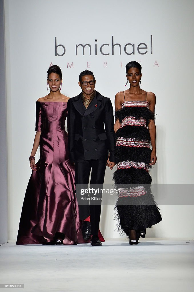 Designer B Michael walks the runway at the conclusion of B Michael America during Fall 2013 Mercedes-Benz Fashion Week at The Studio at Lincoln Center on February 13, 2013 in New York City.