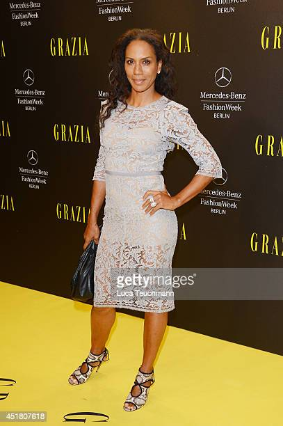 Designer Barbara Becker arrives for the Opening Night by Grazia fashion show during the MercedesBenz Fashion Week Spring/Summer 2015 at Erika Hess...