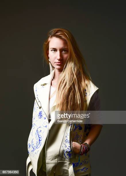 Designer Basak Cankes poses for a portrait during MercedesBenz Istanbul Fashion Week March 2017 at Grand Pera on March 22 2017 in Istanbul Turkey