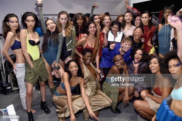 Designer Becca McCharen poses backstage with models for the Chromat collection during New York Fashion Week The Shows at Gallery 3 Skylight Clarkson...