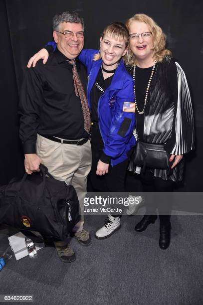 Designer Becca McCharen poses with parents backstage for the Chromat collection during New York Fashion Week The Shows at Gallery 3 Skylight Clarkson...