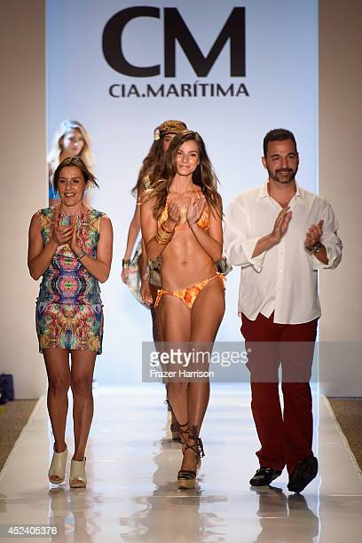 Designer Benny Rosset walks the runway at the CM CiaMaritima Swimwear fashion show during MercedesBenz Fashion Week Swim 2015 at Cabana Grande at The...