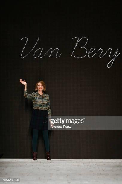 Designer Berivan Meyer on the runway after the Van Bery show during MercedesBenz Fashion Days Zurich 2013 on November 16 2013 in Zurich Switzerland