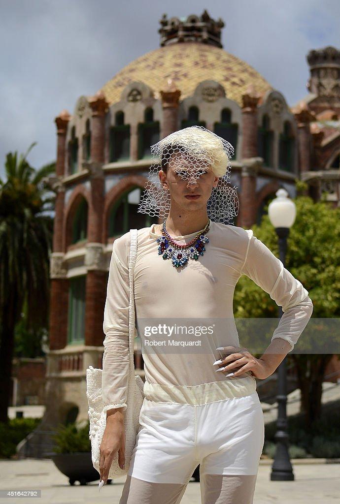 Designer Bernart de Manila is seen wearing his creation during the 080 Barcelona Fashion Week on July 3, 2014 in Barcelona, Spain.