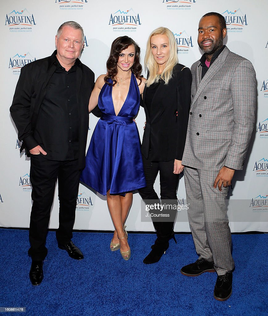 Designer Bert Keeter, dancer/ media personality Karina Smirnoff, designer Uli Herzner and designer Emilio Sosa attend The Aquafina 'Pure Challenge' After Party at The Empire Hotel Rooftop on February 6, 2013 in New York City.