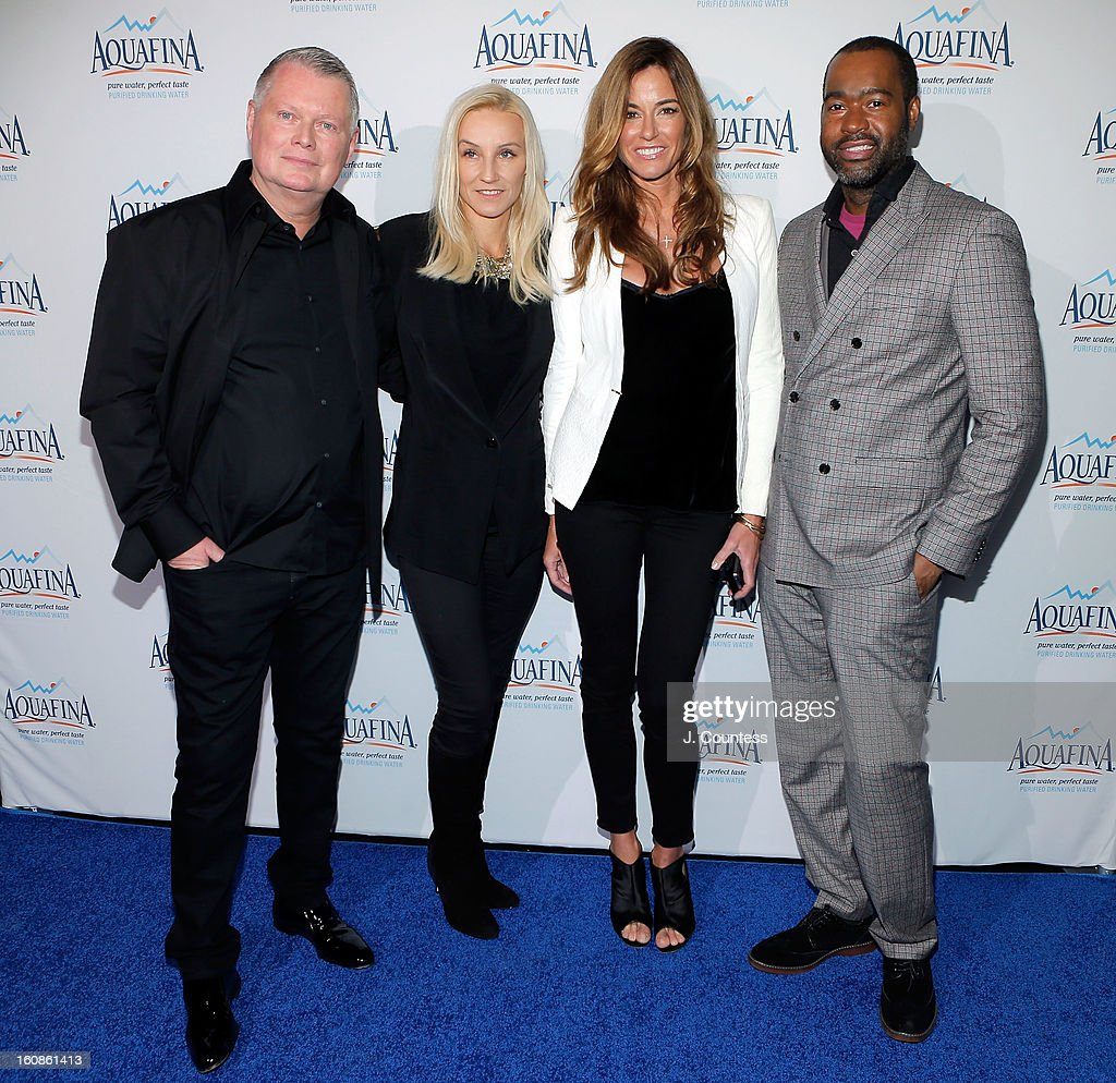 Designer Bert Keeter, designer Uli Herzner, reality tv personality/model Kelly Bensimon and designer Emilio Sosa attend The Aquafina 'Pure Challenge' After Party at The Empire Hotel Rooftop on February 6, 2013 in New York City.