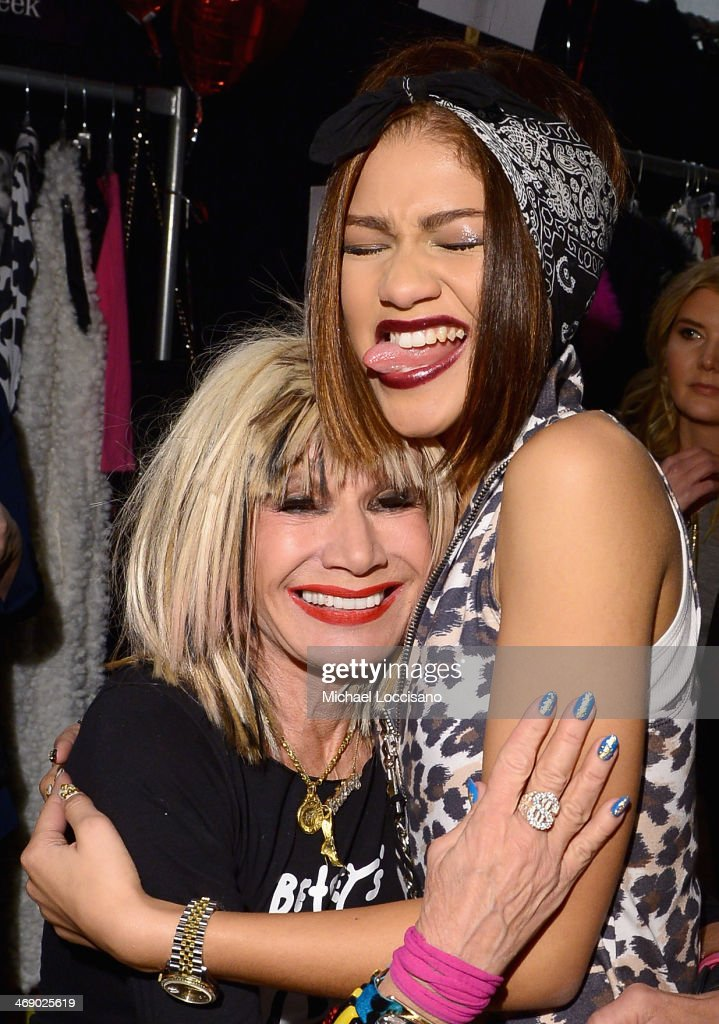 Designer <a gi-track='captionPersonalityLinkClicked' href=/galleries/search?phrase=Betsey+Johnson+-+Fashion+Designer&family=editorial&specificpeople=4205426 ng-click='$event.stopPropagation()'>Betsey Johnson</a> and actress Zendaya backstage at the <a gi-track='captionPersonalityLinkClicked' href=/galleries/search?phrase=Betsey+Johnson+-+Fashion+Designer&family=editorial&specificpeople=4205426 ng-click='$event.stopPropagation()'>Betsey Johnson</a> fashion show during Mercedes-Benz Fashion Week Fall 2014 at The Salon at Lincoln Center on February 12, 2014 in New York City.