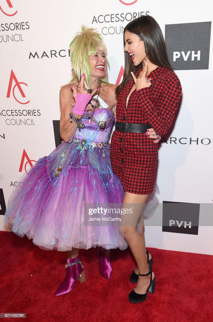 Designer Betsey Johnson and Victoria Justice attends the Accessories Council's 21st Annual celebration of the ACE awards at Cipriani 42nd Street on August 7, 2017 in New York City.