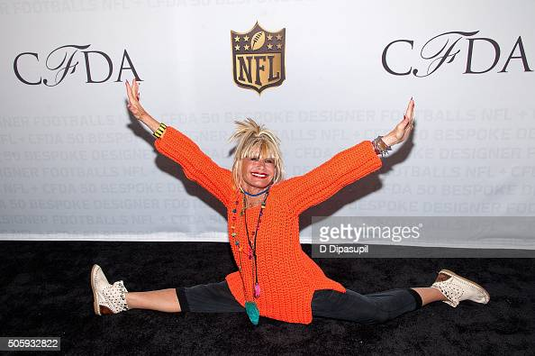 Designer Betsey Johnson does a split on the carpet as the NFL Unveils Super Bowl 50 Bespoke Designer Footballs in Collaboration with the CFDA at NFL...