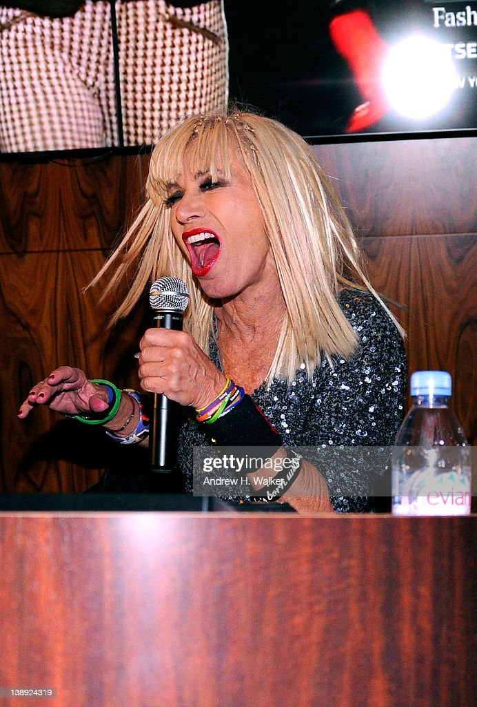 Designer Betsey Johnson seen at the Betsey Johnson after party at Stone Rose Lounge during Fall 2012 MercedesBenz Fashion Week on February 13 2012 in...