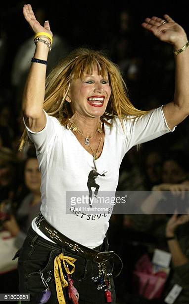 Designer Betsey Johnson walks the runway after her show during Olympus Fashion Week Spring 2005 at the Maritime Hotel September 13 2004 in New York...