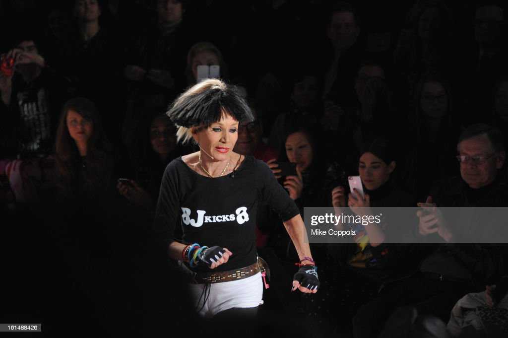 Designer Betsey Johnson walks the runway at the Betsey Johnson Fall 2013 fashion show during Mercedes-Benz Fashion Week at The Studio at Lincoln Center on February 11, 2013 in New York City.
