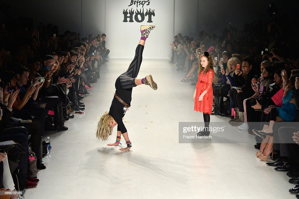 Designer <a gi-track='captionPersonalityLinkClicked' href=/galleries/search?phrase=Betsey+Johnson+-+Fashion+Designer&family=editorial&specificpeople=4205426 ng-click='$event.stopPropagation()'>Betsey Johnson</a> walks the runway at the <a gi-track='captionPersonalityLinkClicked' href=/galleries/search?phrase=Betsey+Johnson+-+Fashion+Designer&family=editorial&specificpeople=4205426 ng-click='$event.stopPropagation()'>Betsey Johnson</a> fashion show during Mercedes-Benz Fashion Week Fall 2014 at The Salon at Lincoln Center on February 12, 2014 in New York City.