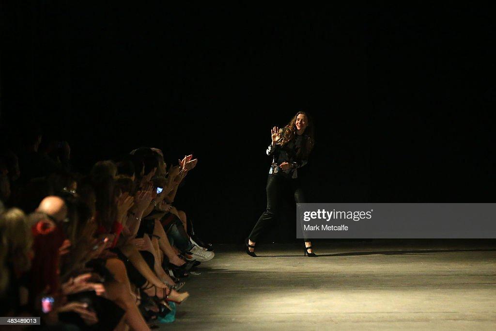 Designer Bianca Spender appears after show during Mercedes-Benz Fashion Week Australia 2014 at Biennale Bay, 22-24 Carriageworks on April 9, 2014 in Sydney, Australia.