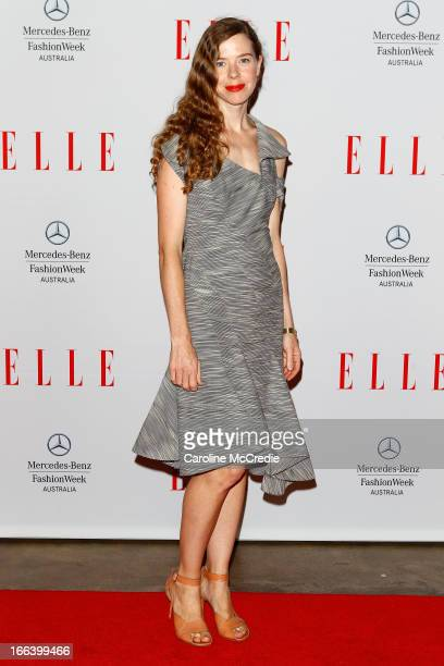 Designer Bianca Spender arrives at the Hello Elle Australia show during MercedesBenz Fashion Week Australia Spring/Summer 2013/14 at Carriageworks on...