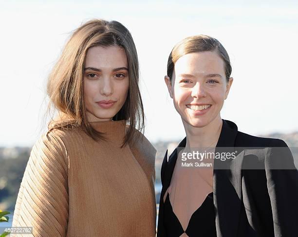 Designer Bianca Spender with model after winning the Australian International Woolmark Prize for womenswear during the International Woolmark Prize...