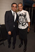 Designer Bibhu Mohapatra and Jay Manuel pose backstage at his Spring 2016 show during New York Fashion Week The Shows at The Gallery Skylight at...