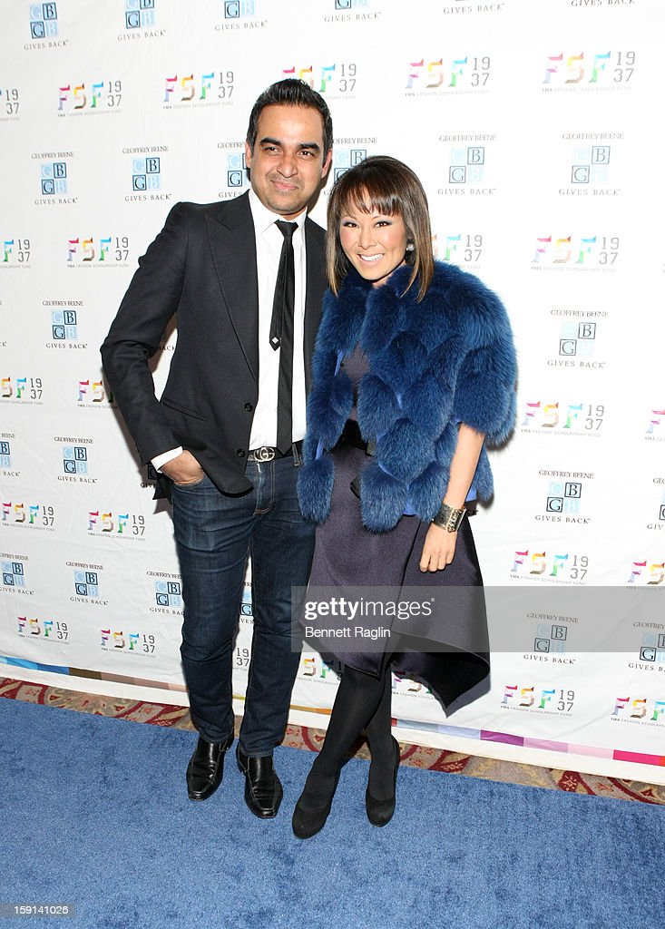 Designer Bibhu Mohapatra and TV personality Alina Cho attend the 2013 YMA Fashion Scholarship Fund Geoffrey Beene Awards Dinner at The Waldorf=Astoria on January 8, 2013 in New York City.