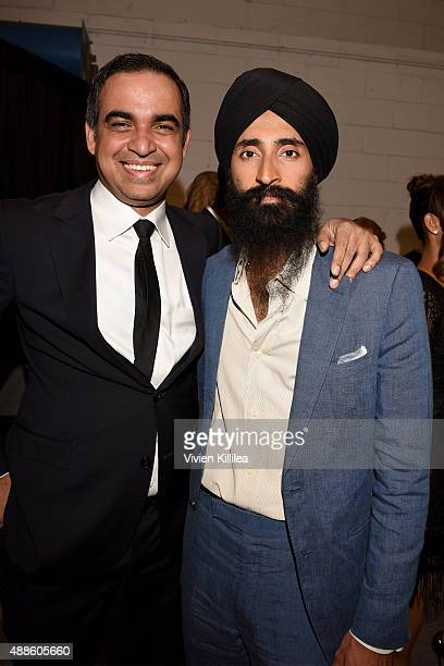 Designer Bibhu Mohapatra and Waris Ahluwalia pose backstage at his Spring 2016 show during New York Fashion Week The Shows at The Gallery Skylight at...