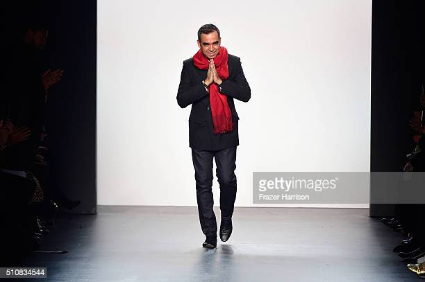 Designer Bibhu Mohapatra greets the audience at the Bibhu Mohapatra Fall 2016 during New York Fashion Week The Shows at The Dock Skylight at Moynihan...