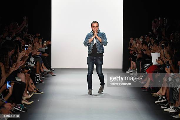 Designer Bibhu Mohapatra greets the audience at the Bibhu Mohapatra during New York Fashion Week The Shows at The Dock Skylight at Moynihan Station...