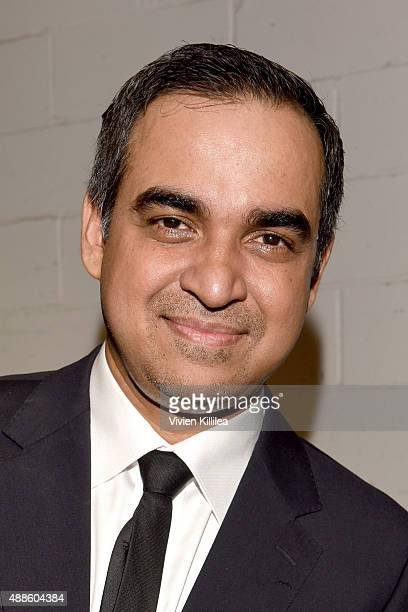 Designer Bibhu Mohapatra poses backstage at his Spring 2016 show during New York Fashion Week The Shows at The Gallery Skylight at Clarkson Sq on...