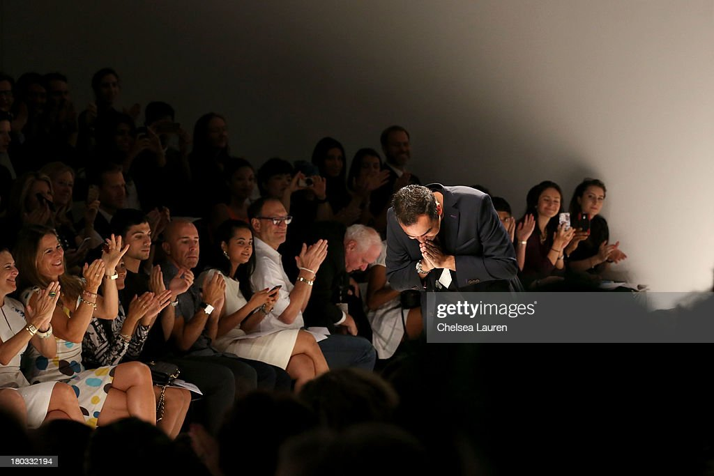 Designer Bibhu Mohapatra walks the runway at his fashion show during Mercedes-Benz Fashion Week Spring 2014 in the Studio at Lincoln Center on September 11, 2013 in New York City.