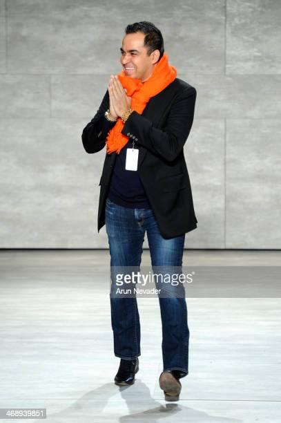 Designer Bibhu Mohapatra walks the runway at the Bibhu Mohapatra fashion show during MercedesBenz Fashion Week Fall 2014 at The Pavilion at Lincoln...