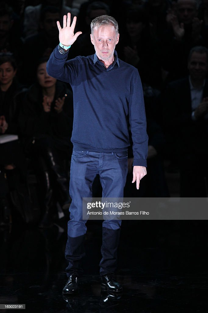 Designer Bill Gaytten acknowledges the audience during the John Galliano Fall/Winter 2013 Ready-to-Wear show as part of Paris Fashion Week at Le Centorial on March 3, 2013 in Paris, France.