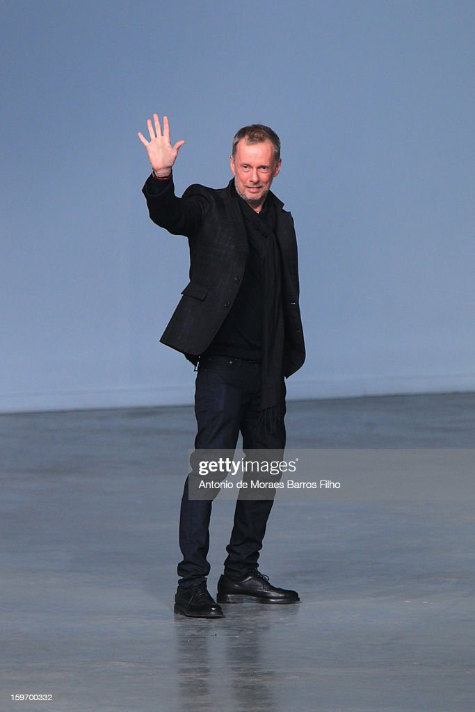 Designer Bill Gaytten walks the runway during the John Galliano Men Autumn / Winter 2013 show as part of Paris Fashion Week on at Palais De Tokyo on January 18, 2013 in Paris, France.
