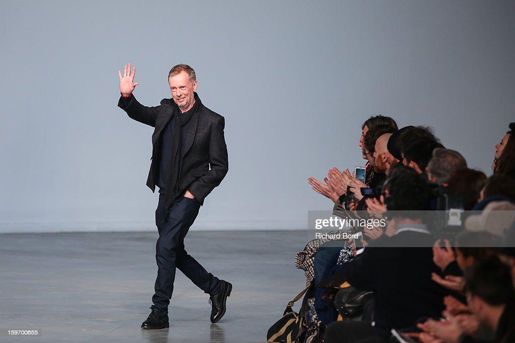 Designer Bill Gaytten walks the runway during the John Galliano Men Autumn / Winter 2013 show as part of Paris Fashion Week on January 18, 2013 in Paris, France.