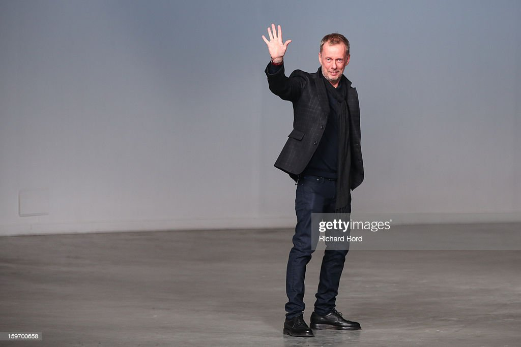 Designer Bill Gaytten walks the runway during the John Galliano Men Autumn / Winter 2013 show as part of Paris Fashion Week on January 18, 2013 in Paris, France.