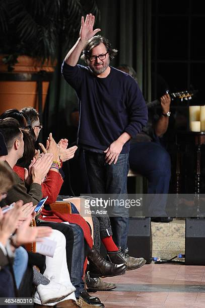 Designer Billy Reid attends the Billy Reid Men's runway show during MercedesBenz Fashion Week Fall 2015 at The Bowery Hotel on February 14 2015 in...