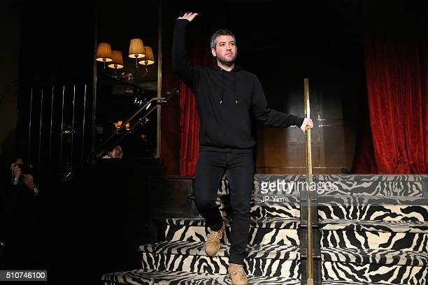 Designer Brandon Maxwell appears at the Brandon Maxwell A/W 2016 fashion show during New York Fashion Week at The Monkey Bar on February 16 2016 in...