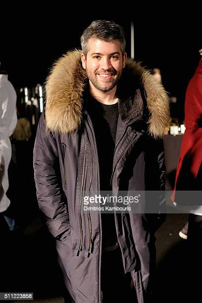 Designer Brandon Maxwell poses backstage at Marc Jacobs Fall 2016 fashion show during new York Fashion Week at Park Avenue Armory on February 18 2016...