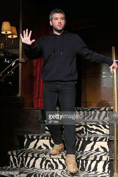 Designer Brandon Maxwell walks the runway at the Brandon Maxwell A/W 2016 fashion show during New York Fashion Week at The Monkey Bar on February 16...