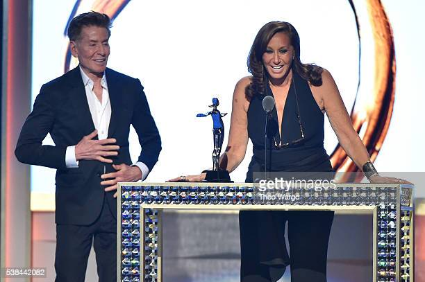 Designer Calvin Klein presents designer Donna Karan with The Founders Award In Honor of Eleanor Lambert at the 2016 CFDA Fashion Awards at the...