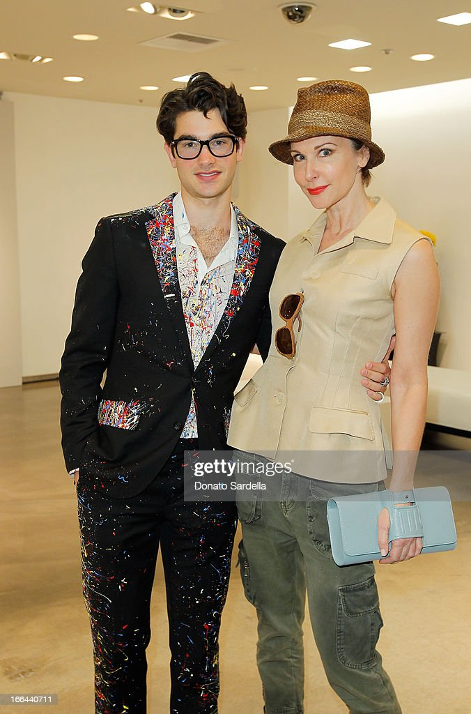 Designer Cameron Helm and Sally Perrin attend Saks Fifth Avenue presents Peter Pilotto at Saks Fifth Avenue Beverly Hills on April 12, 2013 in Beverly Hills, California.