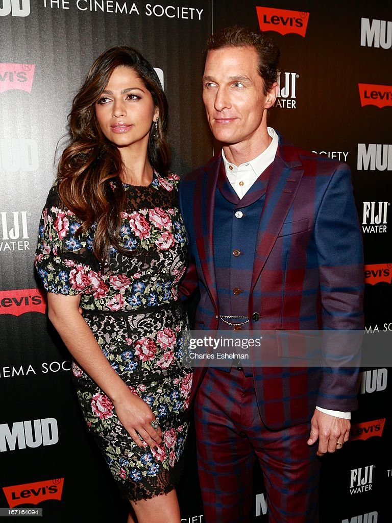 Designer <a gi-track='captionPersonalityLinkClicked' href=/galleries/search?phrase=Camila+Alves&family=editorial&specificpeople=4501431 ng-click='$event.stopPropagation()'>Camila Alves</a> and actor <a gi-track='captionPersonalityLinkClicked' href=/galleries/search?phrase=Matthew+McConaughey&family=editorial&specificpeople=201663 ng-click='$event.stopPropagation()'>Matthew McConaughey</a> attend The Cinema Society with FIJI Water & Levi's screening of 'Mud' at The Museum of Modern Art on April 21, 2013 in New York City.