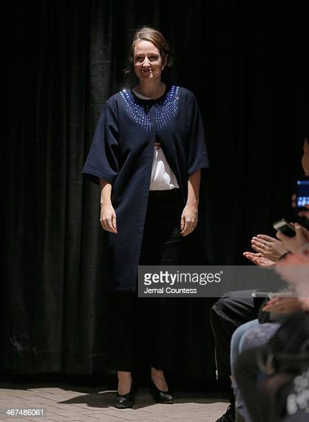 Designer Carin Rodebjer walks the runway at the Rodebjer fashion show during MercedesBenz Fashion Week Fall 2014 at Maritime Hotel on February 6 2014...