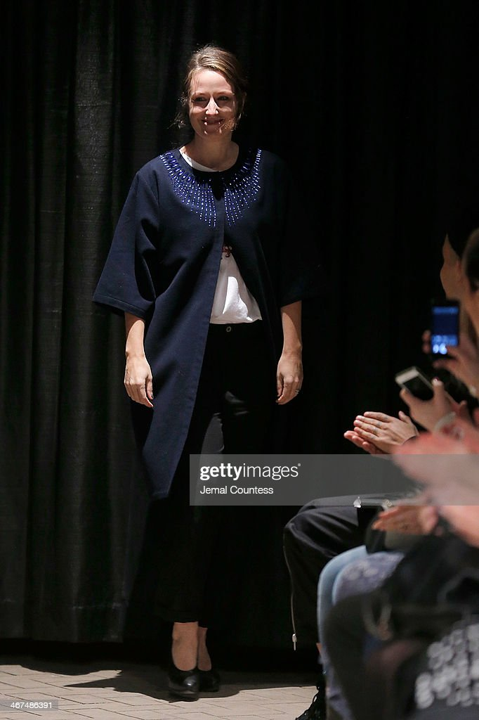 Designer Carin Rodebjer walks the runway at the Rodebjer fashion show during Mercedes-Benz Fashion Week Fall 2014 at Maritime Hotel on February 6, 2014 in New York City.