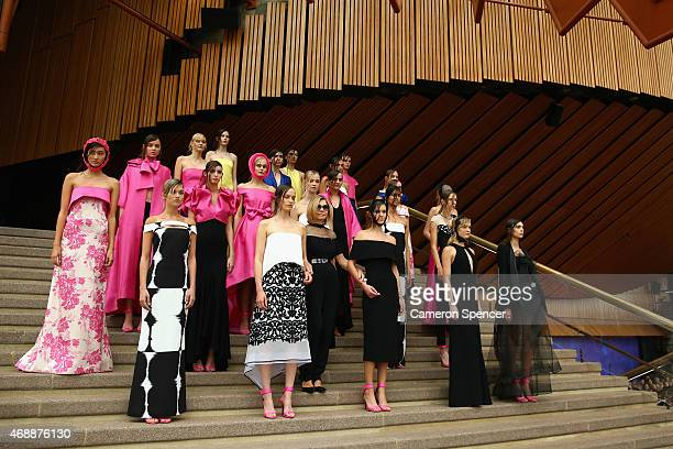 Designer Carla Zampatti poses with models showcasing designs by Carla Zampatti during her 50th anniversary show at Sydney Opera House on April 8 2015...