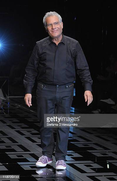 Designer Carlo Pignatelli acknowledges the applause of the public after the Carlo Pignatelli Cerimonia Fashion Show as part as Milan Fashion Week...