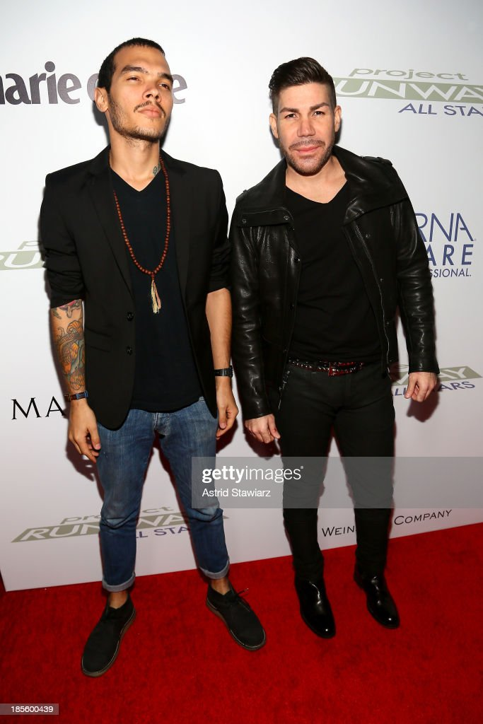Designer Carlos Casanova (R) attends the Project Runway All Stars Season 3 premiere party presented by The Weinstein Company and Lifetime in partnership with Marie Claire, QVC, Mary Kay and Alterna Haircare at Hudson Common at the Hudson Hotel on October 22, 2013 in New York City.